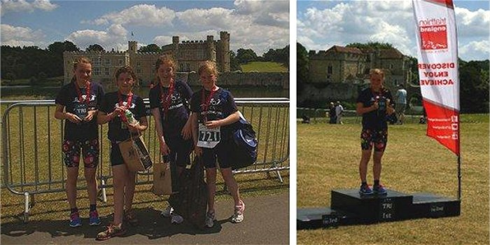 Hythe Aqua Girls Achieve Success at Leeds Castle Aquathlon